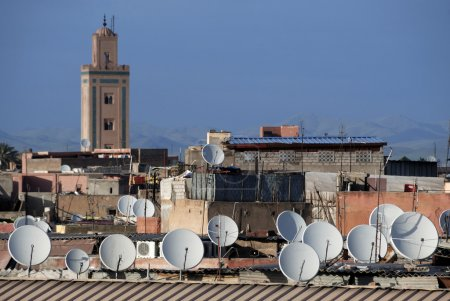 Satellite dishes on roofs
