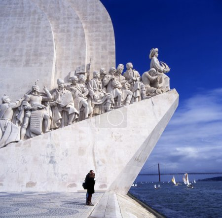 Sea-Discoveries monument in Lisbon, Portugal. Navigators statues in a stone