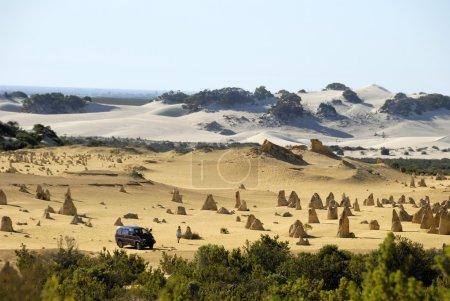 Four wheel car in the Pinnacles desert in Western ...