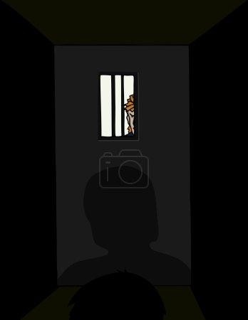 Photo pour Un gardien de prison ressemble à un détenu d'en dehors d'une cellule de prison. - image libre de droit
