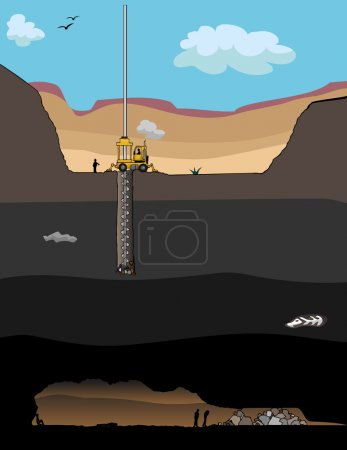 A giant drill bores a hole to rescue trapped miner...
