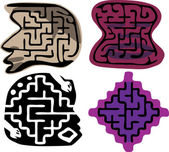 Set of four beginner-level mazes (ages 3-6) in layers Shapes and details inspired from African and Native American sculptures EPS version can be scaled or mod