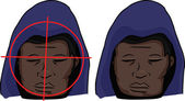 Hooded Black man with gun target on his face