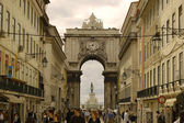 Rua Augusta with the arch of Augusta to the Bottom. Lisbon, Portugal