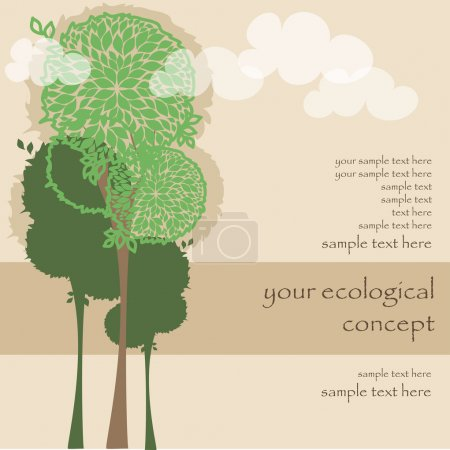 Illustration for Vector card with green trees for ecology concept - Royalty Free Image