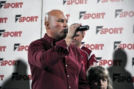 Soccer club president at a speech