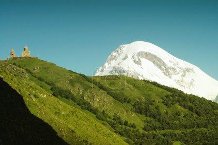Mount Kazbek and Tsminda Sameba monastery, Georgia