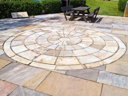 Display of stone floor tiles circle