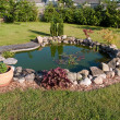 Beautiful classical garden fish pond surounded by ...