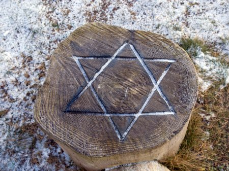 Star of David engraved in wood - Judaism