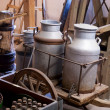 Antique Vintage Milk Can Jug in an old traditional...