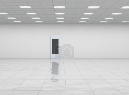 Photo for Empty room with door and reflection floor - Royalty Free Image