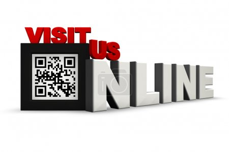 Photo for The Words Visit Us Online Where the O is replaced by a QR code of your choice (Currently translates to this is a QR Code). Can be used in a headline where the Q - Royalty Free Image
