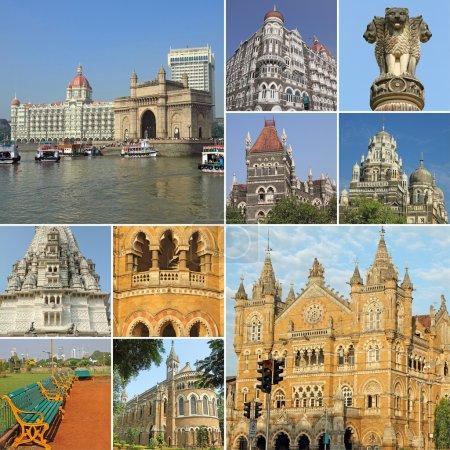 Collage with symbols of indian city Mumbai