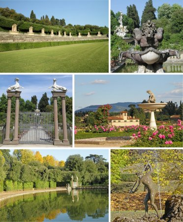 Collage with images of Boboli Gardens in Florence,...