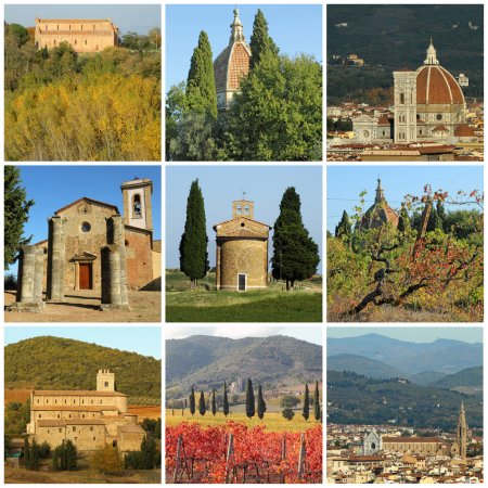 Collage with religious buildings in fantastic tuscan landscape