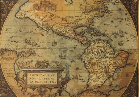 Reproduction of antique XVI th century map of Amer...