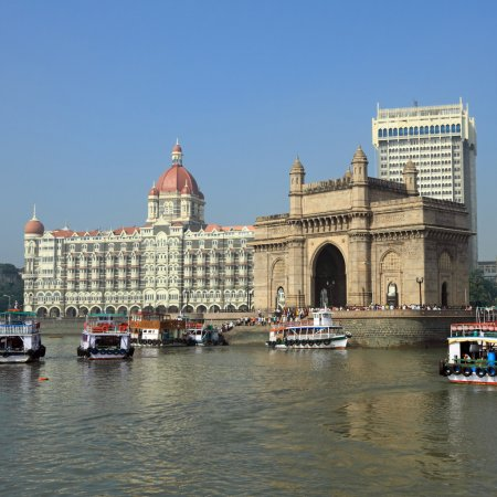 Gate of India and hotel Taj Mahal Palace in Mumbai