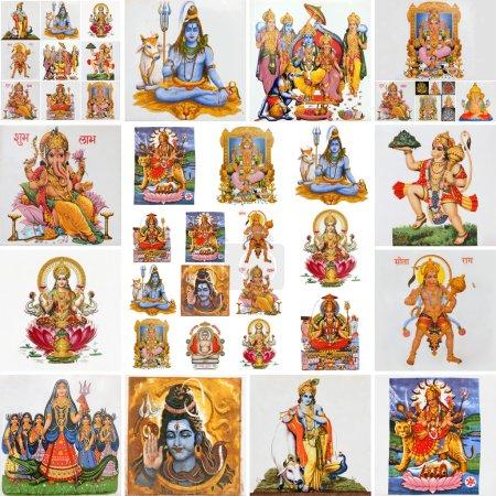 Photo pour Collage avec des dieux hindous comme : Lakshmi, Ganesha, Hanuman, Vishnu, Shiva, Parvati, Durga, Buddha, Rama, Krishna - image libre de droit