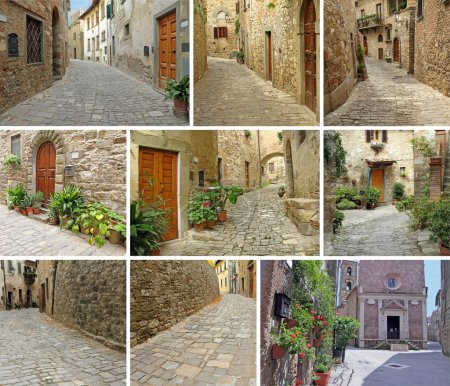 Collage with narrow stony streets