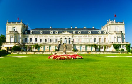 Chateau Ducru-Beaucaillou winery and palace with towers in Beychevelle, region Medoc, France