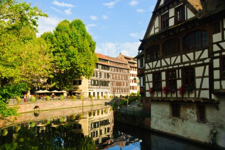 Half-timbered houses by the canal in old town of Strasbourg, France