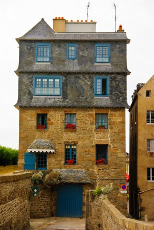 Original Breton architectural style tenement house in Saint-Malo, Brittany, France
