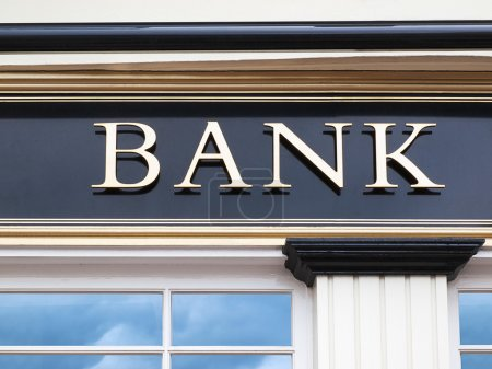Photo for Detail of a bank building - sign - Royalty Free Image