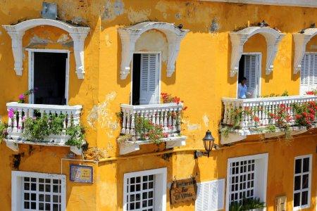 Photo pour Balcons de Cartagena, Colombie - image libre de droit