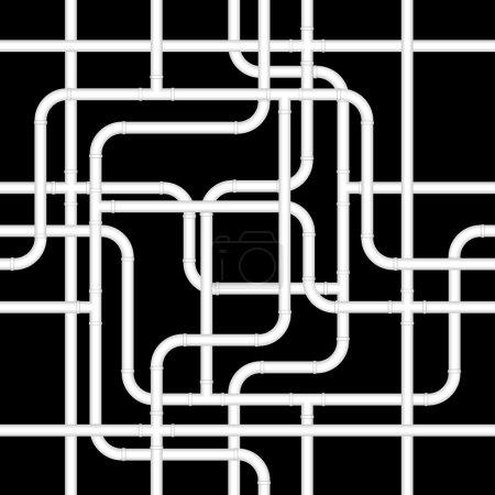 Illustration pour Fond sans couture de tuyaux en pvc blanc sur noir - image libre de droit