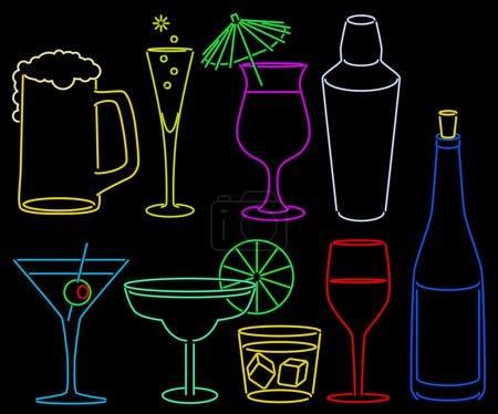 Illustration pour Ensemble de bar néon avec shaker de verres à cocktail et bouteille - image libre de droit