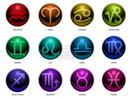 Illustration for Twelve symbols of the zodiac in glossy style - Royalty Free Image