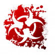 A biohazard symbol reversed out of a blood spill...