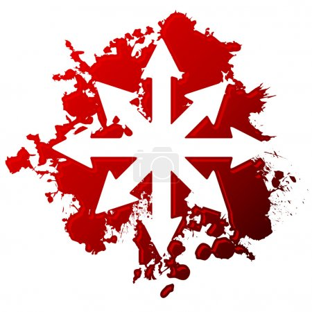 Chaotic arrow symbol reversed out of blood spill...
