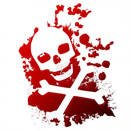 A skull and crossbones reversed out of spilled blo...