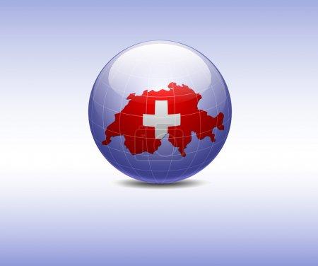 Flag Switzerland on a map Switzerland in globe...