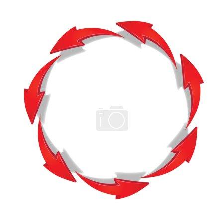 Illustration pour Flèches rouges se déplaçant en cercle - image libre de droit