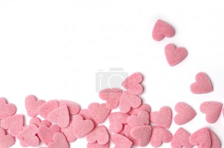 Photo for Pink hearts with white background - Royalty Free Image