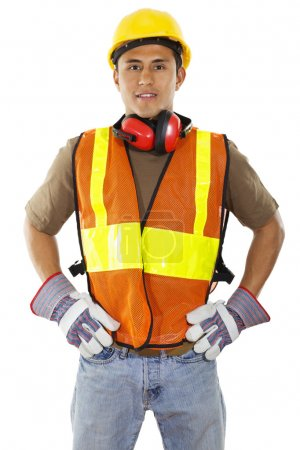 Photo for Stock image of male construction worker standing confident isolated on white background - Royalty Free Image