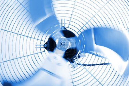 Photo for Close up shot of industrial fan while spinning - Royalty Free Image