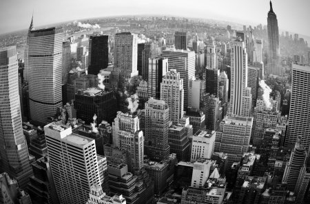 Photo pour Skyline de la ville de New york au coucher du soleil avec la courbe - image libre de droit