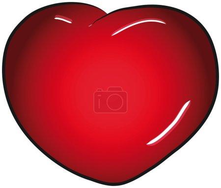 Illustration pour Clip art rouge de vecteur de coeur de Saint Valentin - image libre de droit