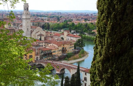 Photo for Panoramic view of Verona, Italy (are visible the Old Bridge and the Duomo) - Royalty Free Image