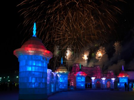 Ice sculptures and fireworks
