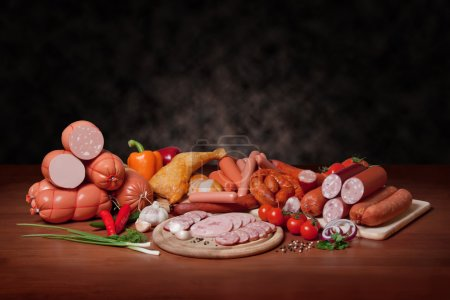 A variety of processed cold meat products, on a wo...