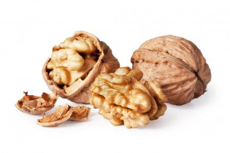 Photo for Walnut and a cracked walnut isolated on the white background - Royalty Free Image