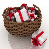 coffrets cadeaux dans un panier de tressage