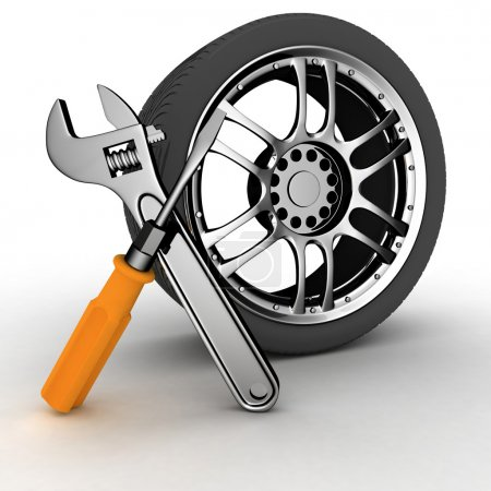 Photo for Wheel and Tools. Car service. Isolated 3D image - Royalty Free Image