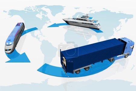 Photo pour Types de transport sur une carte du contexte mondial - image libre de droit