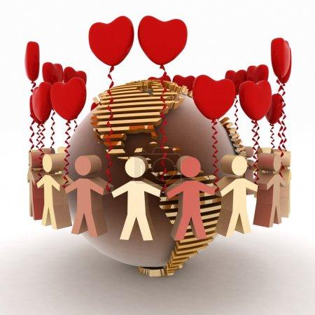 Photo pour Conception de l'amour et l'amitié dans le monde entier - image libre de droit